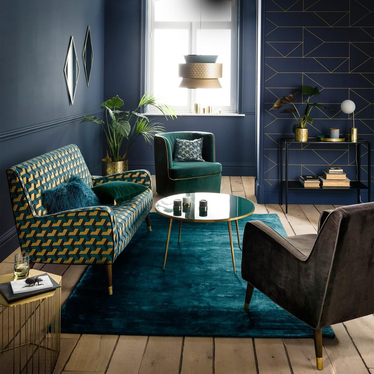 Green, Navy and gold living room inspiration| Today we're talking inspiration for adding green to your living room. Green is a really versatile colour to decorate your home with. But, which colours and tones work well? What kind of accessories work with green? This post gives you ideas for pulling together an elegant green colour palette and pieces for your home. Read more: kittyandb.com #greenlivingroom #interiordecoratinginspiration #colorpalette #colourpalette #greenaesthetic #navyandgreen