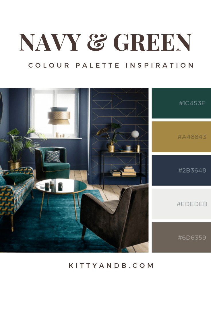 Rich green, navy and gold colour palette| Blue is a really versatile colour to decorate your home with. But, which colours and tones work well? Green and gold look great with blue! What kind of accessories work with blue? This post gives you the all the ideas you need for pulling together an elegant blue colour palette and pieces for your home. Read more: kittyandb.com #bluelivingroom #colourfulhomedecor #bluecolorpalette #colourpalette #interiordecoration #navy