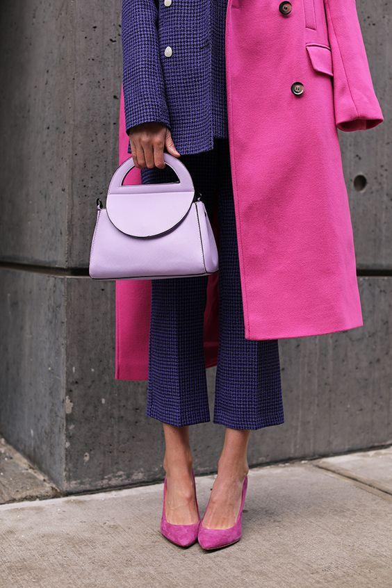 Colour Palette Inspiration for how to wear colour with colour blocking |Pink and Purple |It's time to be bold and add some colour to your style. But, how? Here is your inspiration for colours to wear this year and how to wear them. From single pieces, to monochromatic and tonal, to colour blocking, all the inspiration you need for adding colour no matter what your style is here. | kittyandb.com #howtowearcolour #colourinspiration #womensoutfitideas #everydaystyle #colourblock #colourpalette