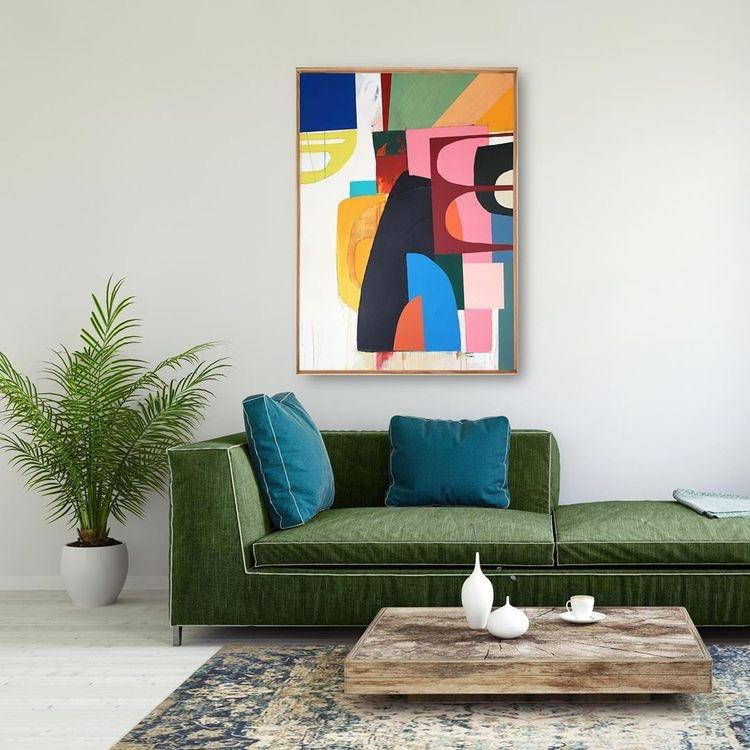 Green Sofa with Colourful Abstract Art Painting above. Green Home Decor Inspiration| Today we're talking inspiration for a green living room. Green is a really versatile colour to decorate your home with. But, which colours and tones work well? What kind of accessories work with green? This post gives you ideas for pulling together an elegant green colour palette and pieces for your home. Read more: kittyandb.com #greenlivingroom #greencolorpalette #wallart #greenaesthetic #abstractart