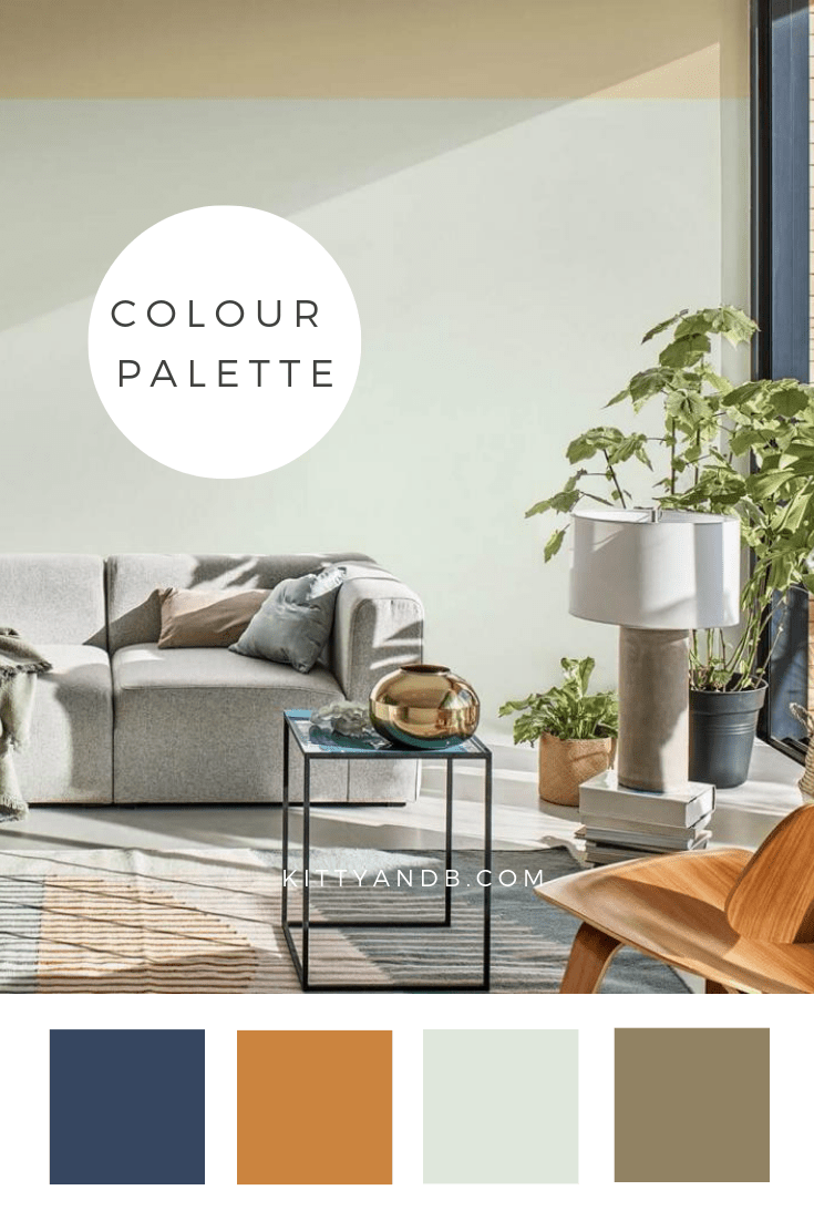 Green Living Room Colour Palette Inspiration| Today we're talking inspiration for a green living room. Green is a really versatile colour to decorate your home with. But, which colours and tones work well? What kind of accessories work with green? This post gives you ideas for pulling together an elegant green colour palette and pieces for your home. Read more: kittyandb.com #greenlivingroom #greencolorpalette #colourfulhomedecor #greenaesthetic #tranquildawn
