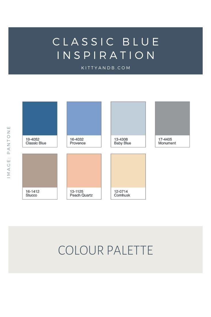 Classic Blue Colour Palette Inspiration| Blue is a really versatile colour to decorate your home with. But, which colours and tones work well? What kind of accessories work with blue? This post gives you ideas for pulling together an elegant blue colour palette and pieces for your home. Read more: kittyandb.com #blueroom #colourfulhomedecor #bluecolorpalette #blueaesthetic #classicblue