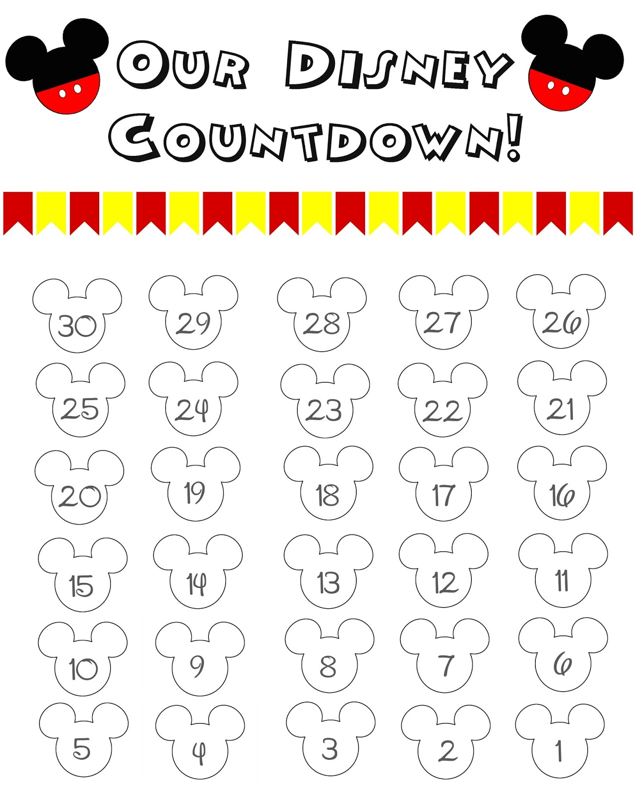10 Fun Printable Disney Countdown Calendars