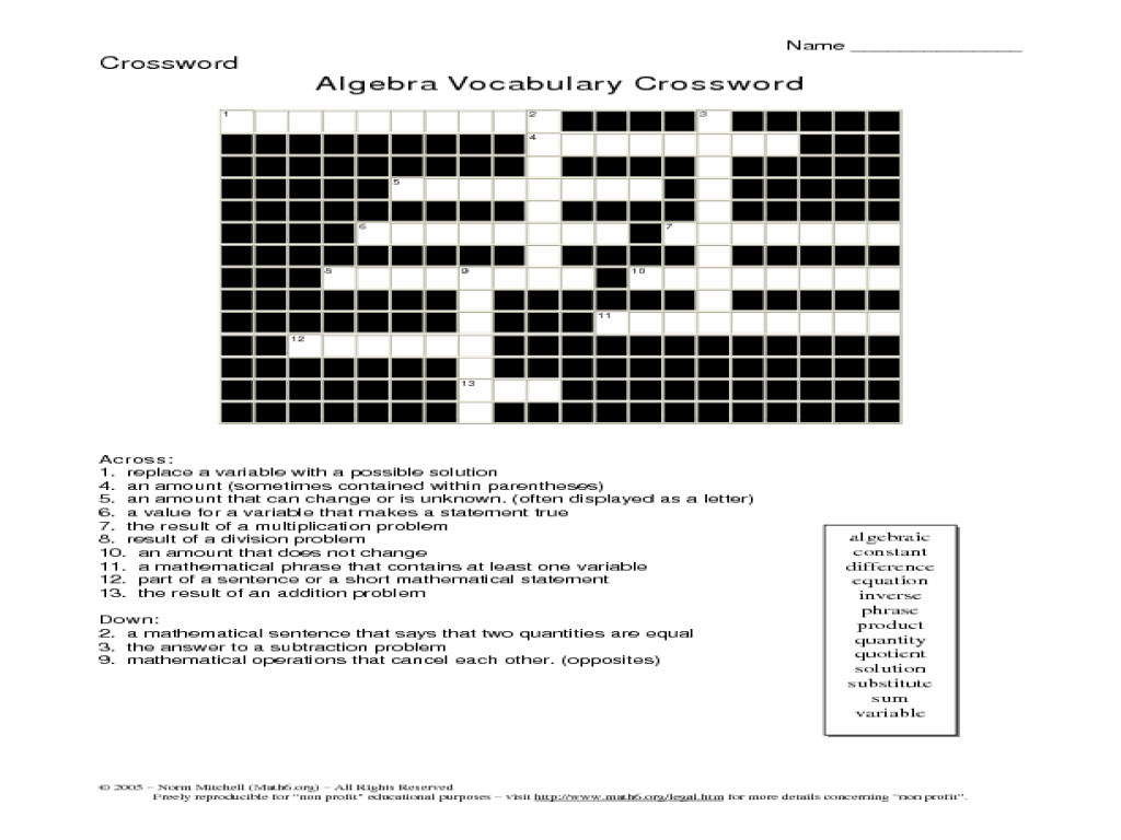 20 Easy And Interactive Math Crossword Puzzles