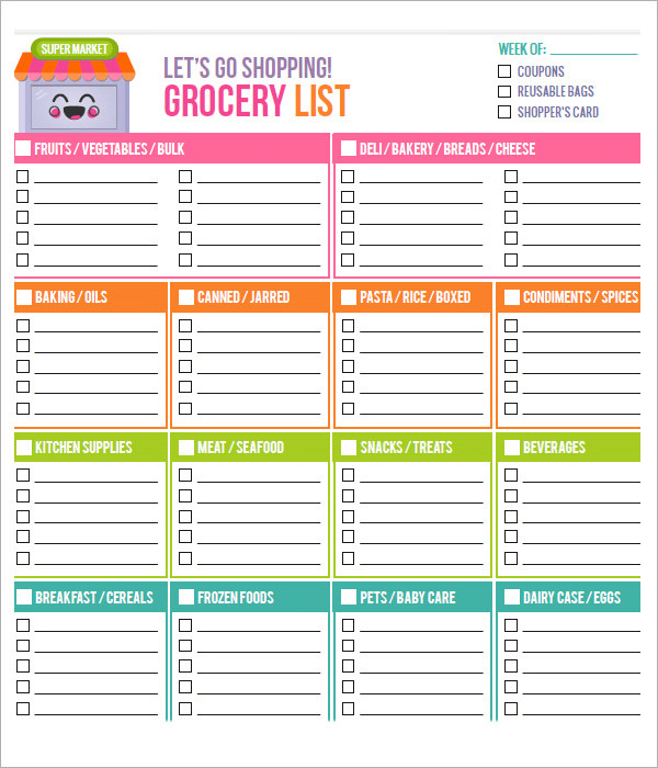 Grocery Store List Template organized grocery list 3 free – Grocery Words