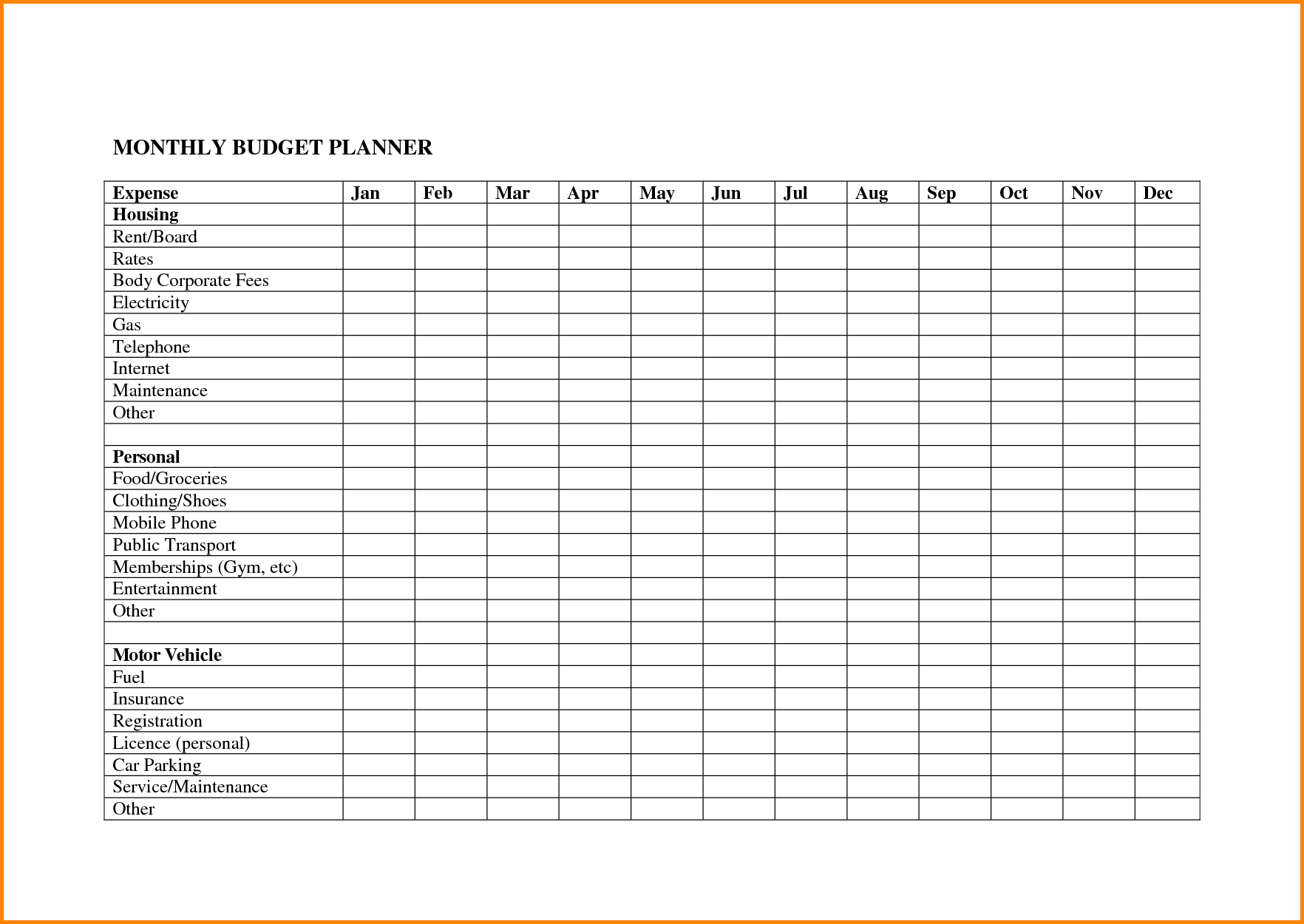 20 Free Printable Monthly Budget Planners