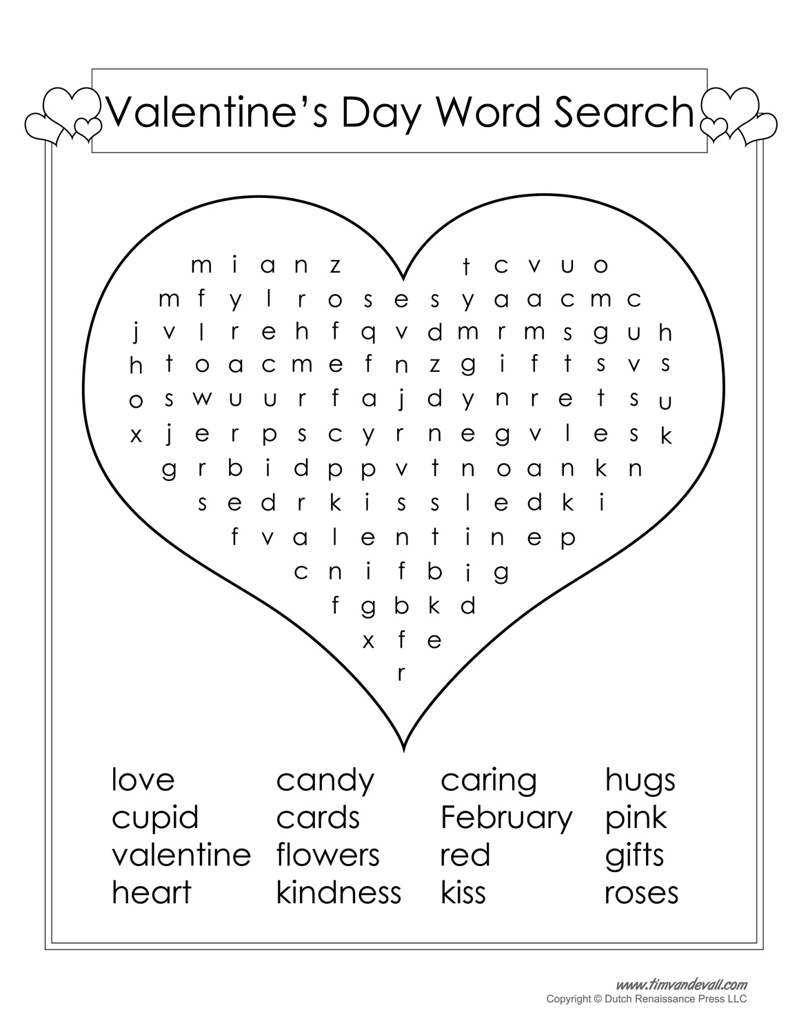 12 Valentines Day Word Search Kitty Baby Love