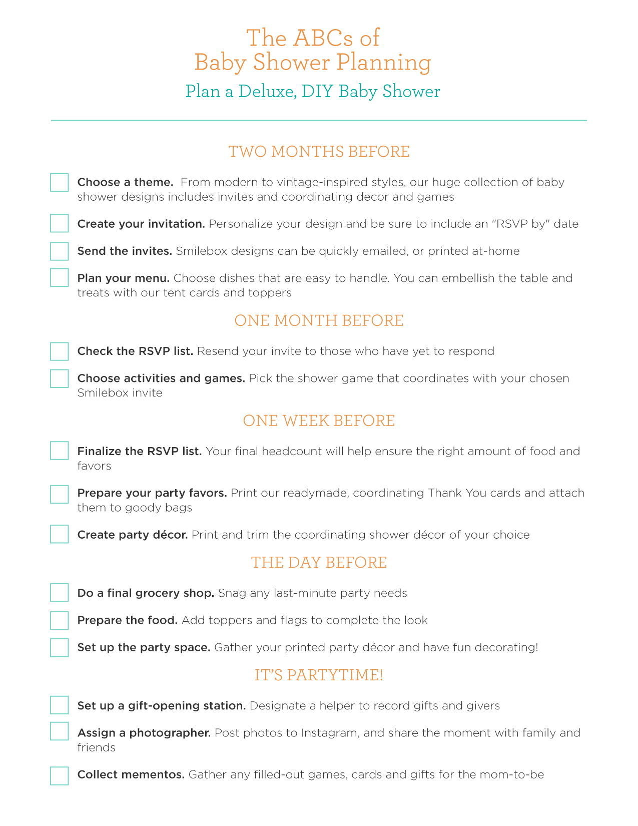 24 Helpful Baby Shower Checklists