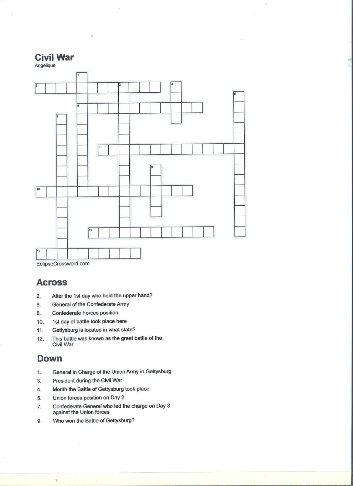 6 Historical Civil War Crossword Puzzles
