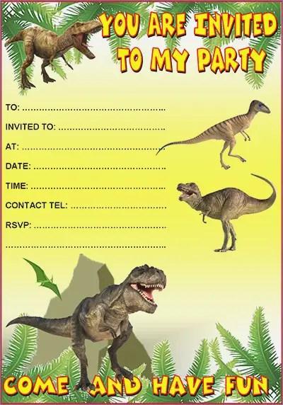 Dinosaur Birthday Invitations Free