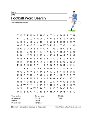 34 End To End Football Word Search Puzzles For You