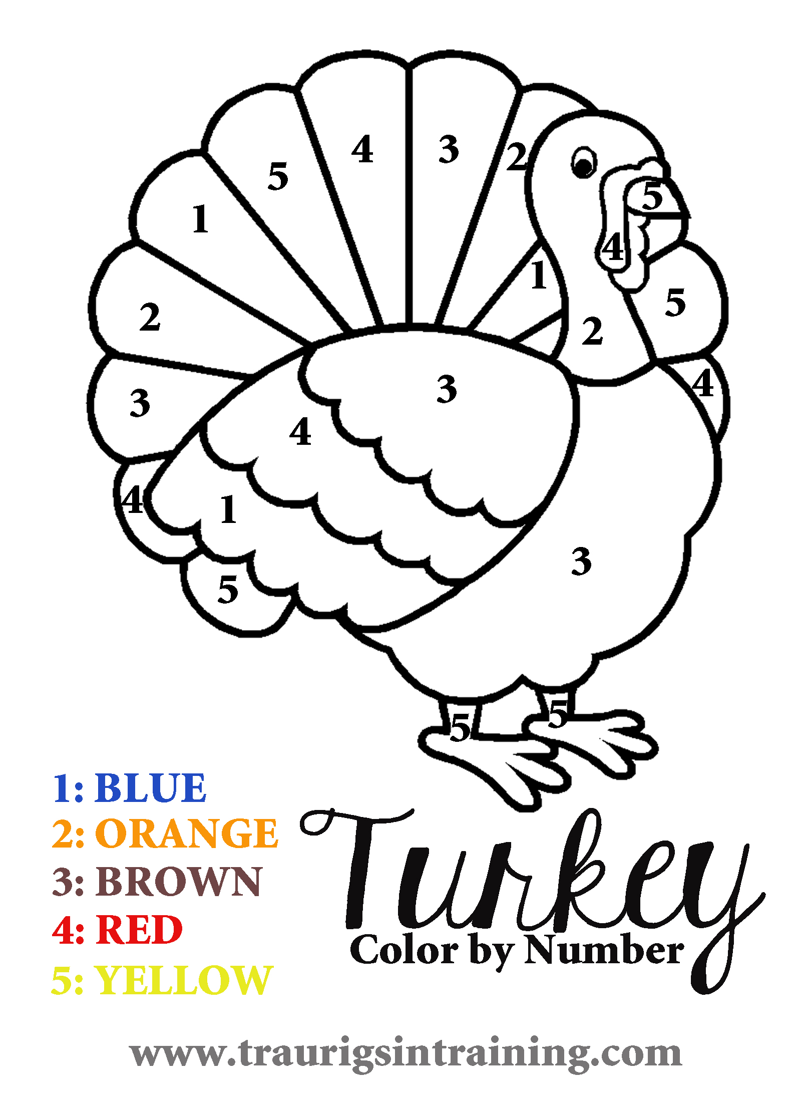 17 Printable Color By Number Turkey