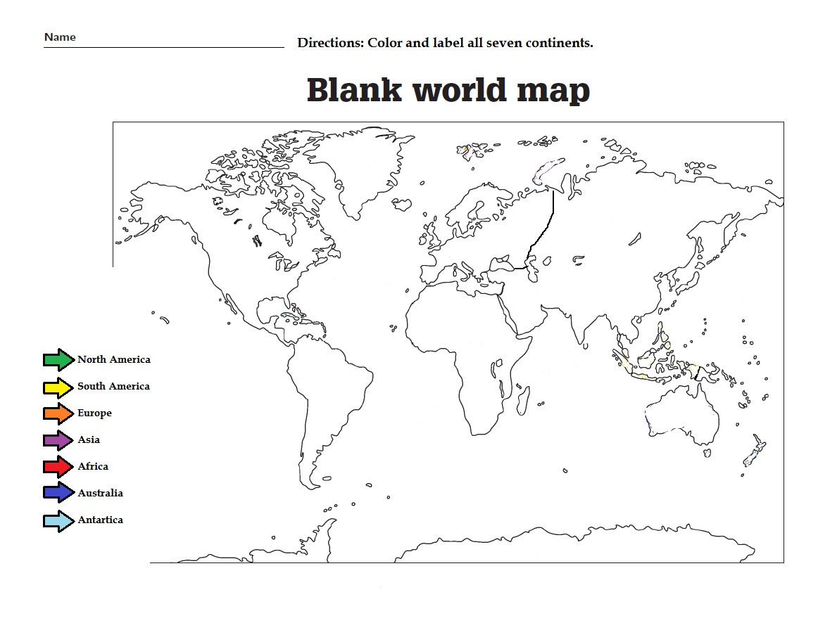 Way Find Continents Worksheet