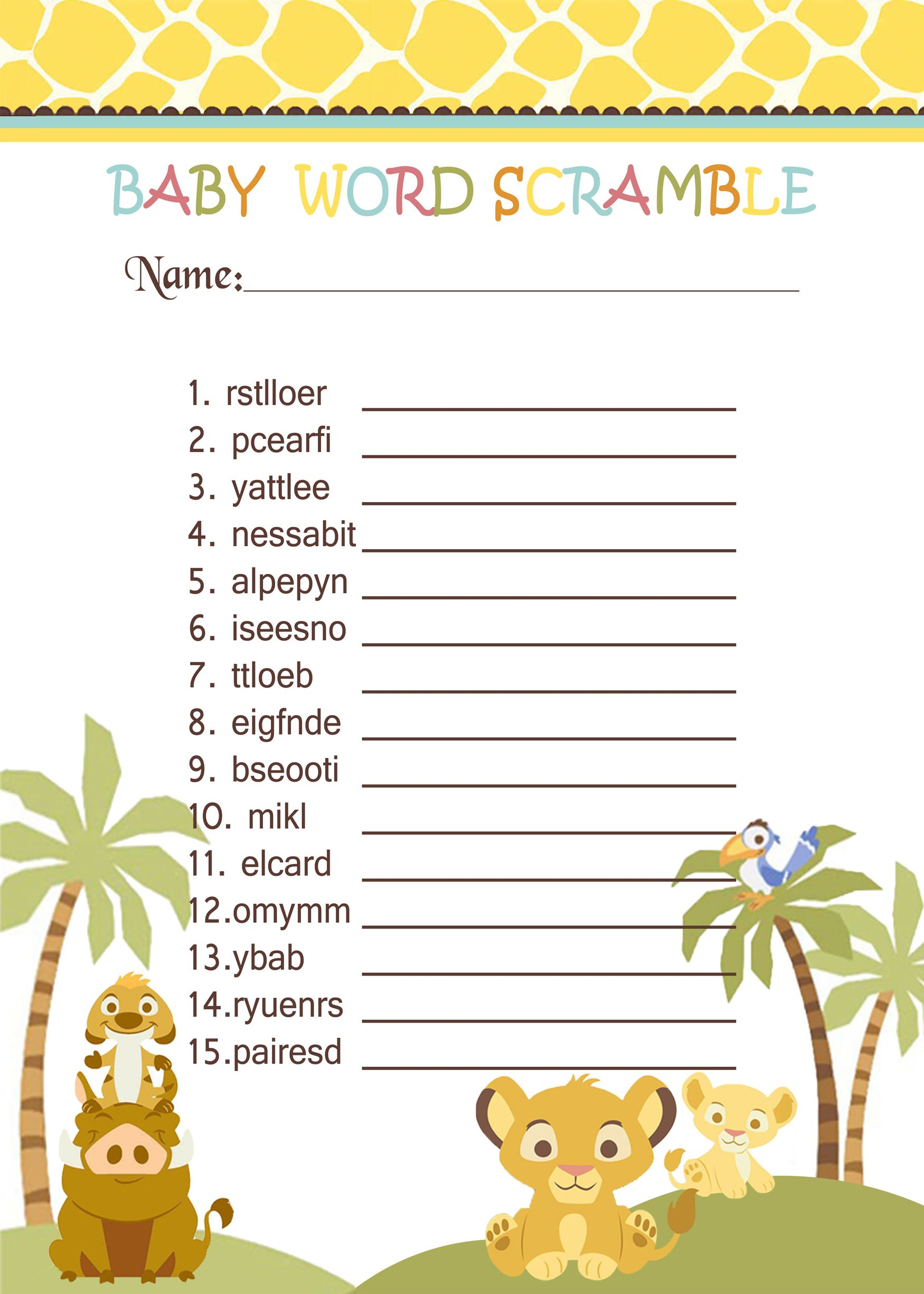 36 Adorable Baby Shower Word Scrambles