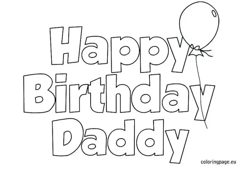 Valentine Card Design Happy Birthday Daddy Colouring Card