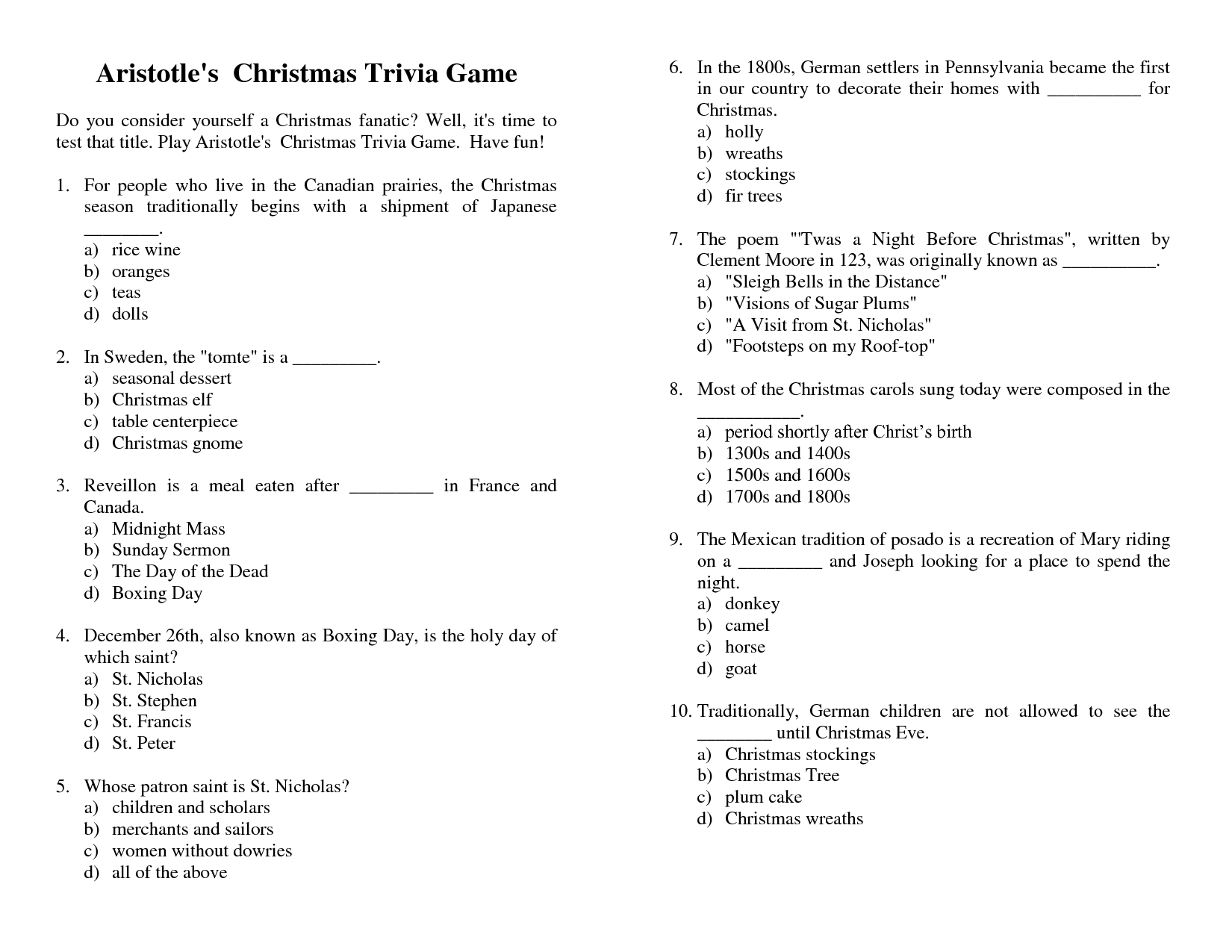 56 Interesting Christmas Trivia