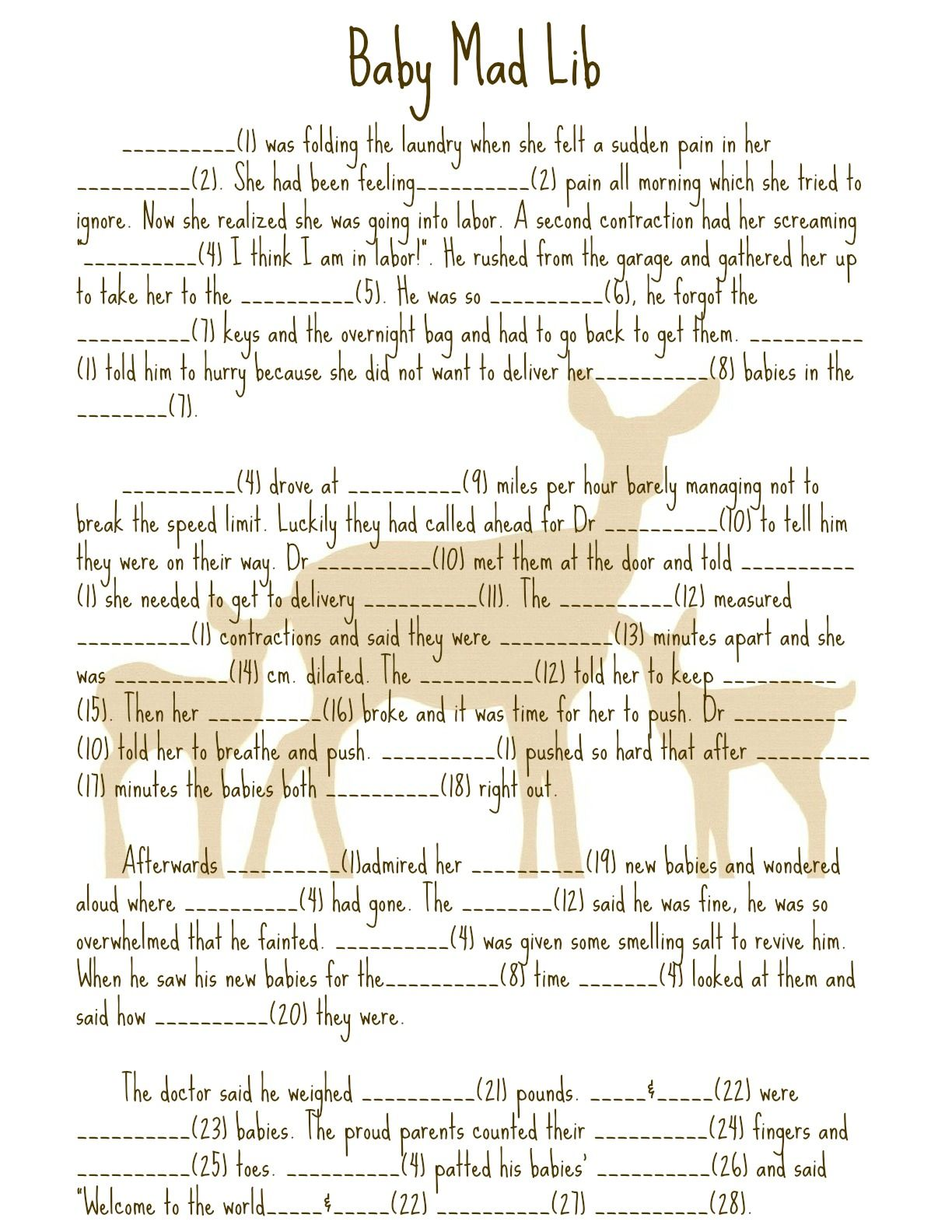16 Fun Baby Shower Mad Libs