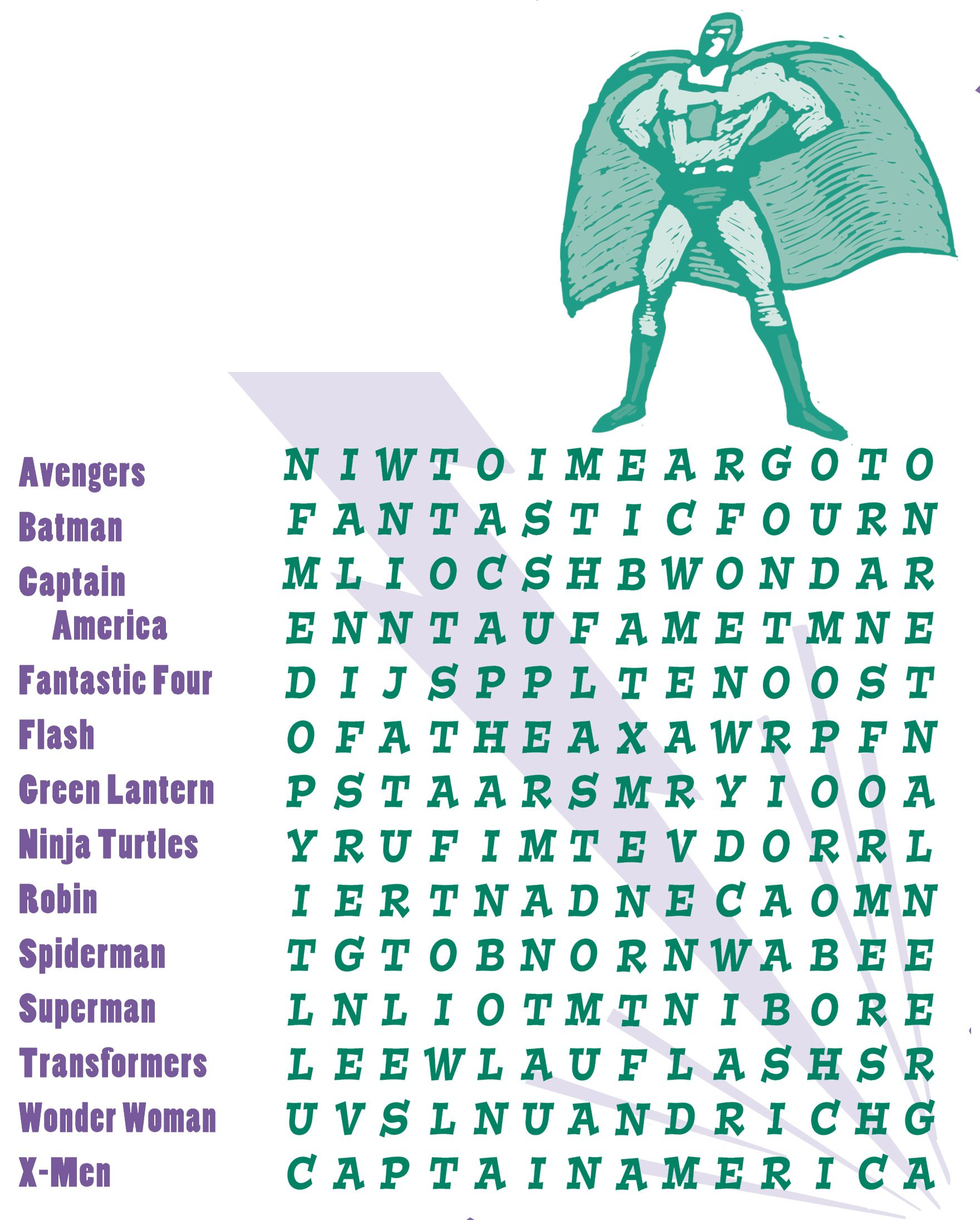 10 Superheroes Word Search Printables For All