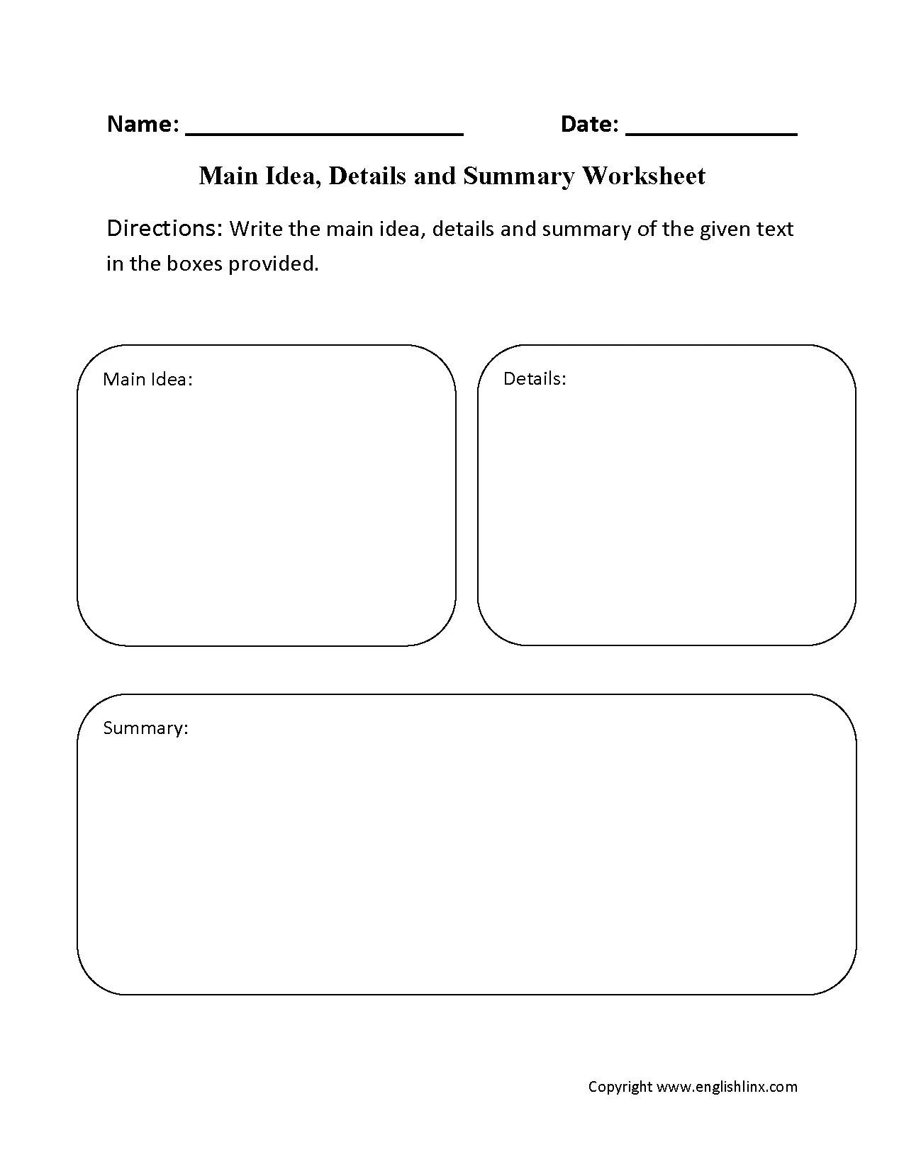 29 Comprehensive Main Idea Worksheets