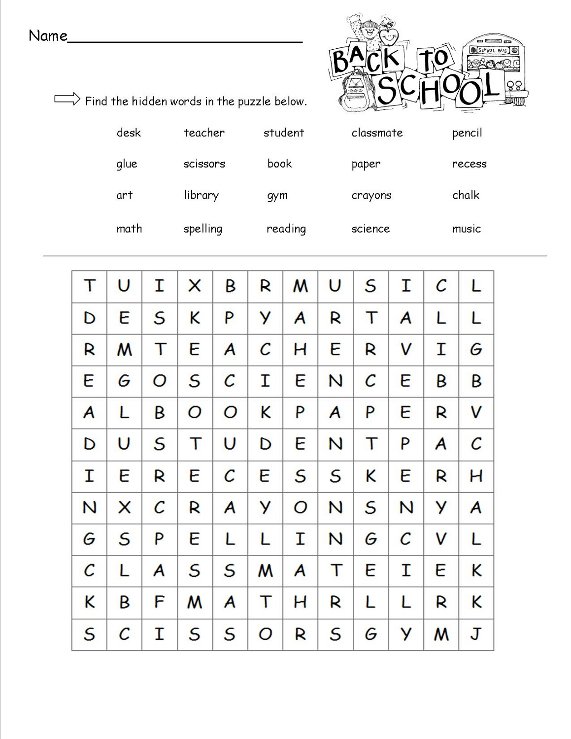 17 Back To School Word Search Printables