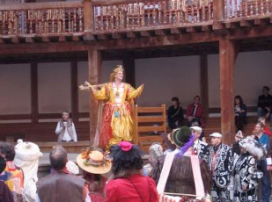 """Kitty Martin as Ceres from """"The Tempest"""" in October Plenty performed at Shakespeare's Globe for the Lions part"""