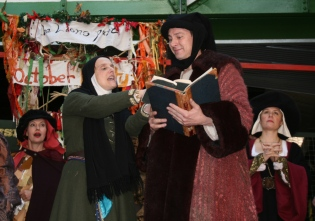 Kitty Martin as Prioress in CANTERBURY TALES for the lions part, with Martin Ritchie