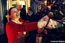 Kitty Martin as Mrs Claus in Mrs Claus' Wars for Folkestone's Living Advent Calendar