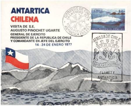 pinochet base naval antartica arturo prat 14 ene 1977 correo conmemorativo