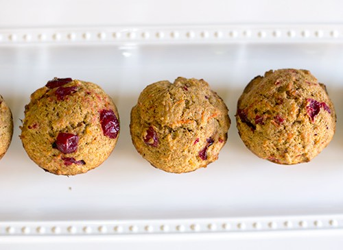 Whole-wheat cranberry carrot muffins