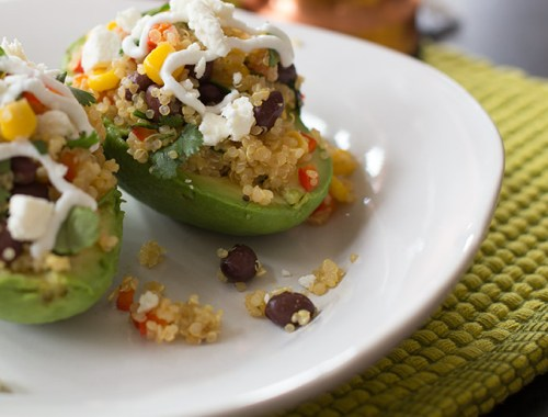 Quinoa stuffed avocados-Kiwi and Carrot