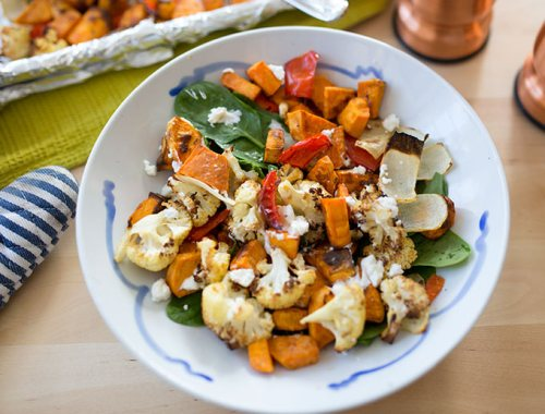 Roasted veggies with goat cheese