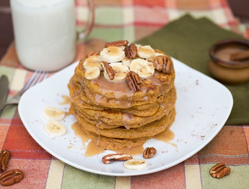 Pumpkin Pancakes with Vanilla Nutmeg Syrup