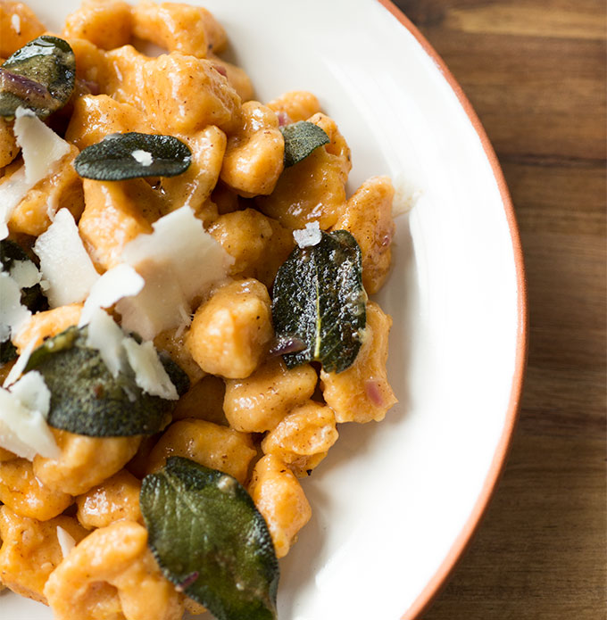 Sweet Potato Gnocchi...heaven in your mouth. This recipe combines sweet potato gnocchi with browned-butter, balsamic and crispy sage for a savory and flavorful dish!