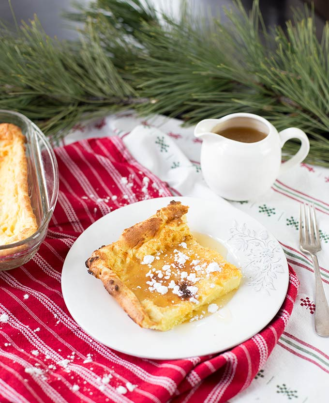 German Pancakes with Easy Buttermilk Syrup - a traditional German breakfast that puff in the oven and are topped with syrup, jam or a splash of lemon.
