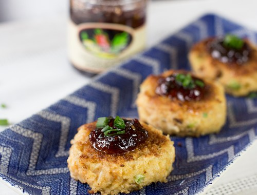 Light and airy Crab Cakes with Spicy Pepper Jelly on top!