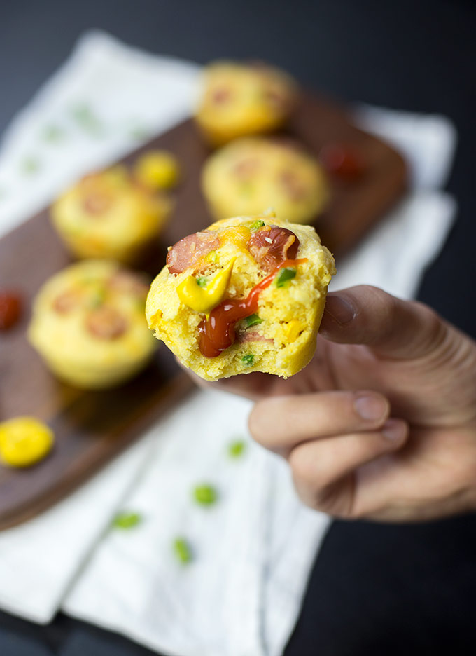 How do you elevate the lowly hot dog? Dudes' Food Corn Dog Muffins do just that, using jalapeños, corn and cheddar baked into a luscious corn muffin!