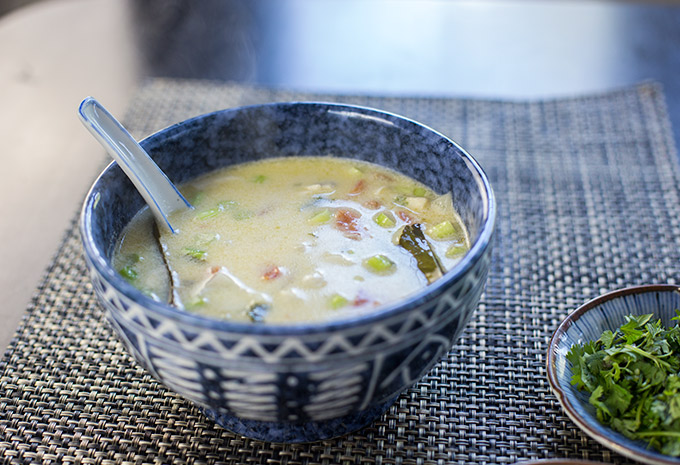 This Spicy Thai Coconut Soup is made with coconut milk, fresh vegetables and Thai herbs for a flavorful and spicy soup.