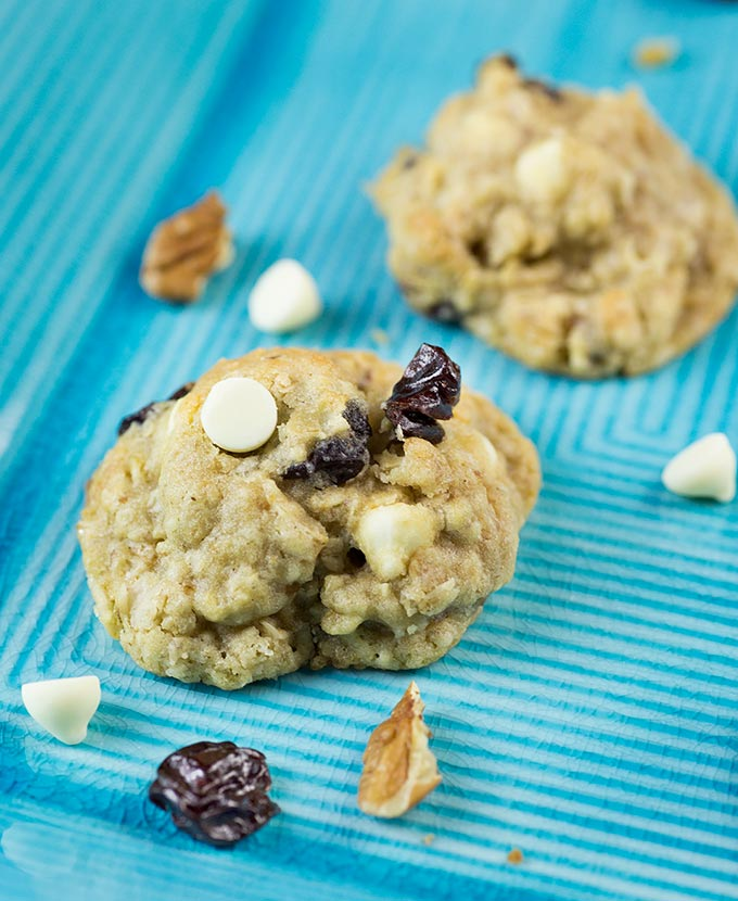 White Chocolate Chip Cookies with Oats and Cherries are a delicious spin off the traditional chocolate chipper.