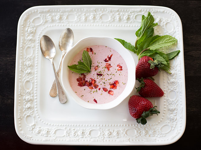 Cold Strawberry Bisque is the perfect sweet treat just in time for summer! And no cooking involved! Fresh berries, lime and honey...what could be better?