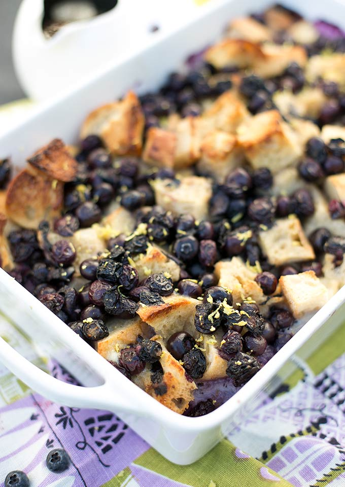 Overnight Blueberry Bake is made with crunchy french bread, fresh blueberries and coconut milk for a yummy breakfast you can put together the night before.