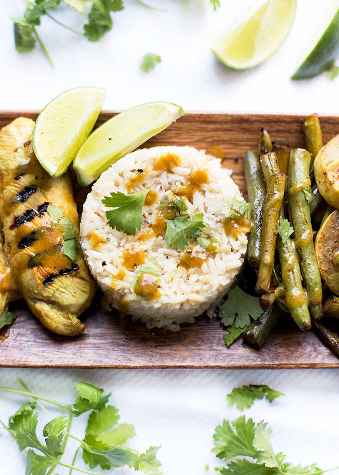 This Curry Lime Chicken with Coconut Brown Rice is a delicious combo, perfect for a healthy dinner. Simple to make and goes great with grilled veggies!
