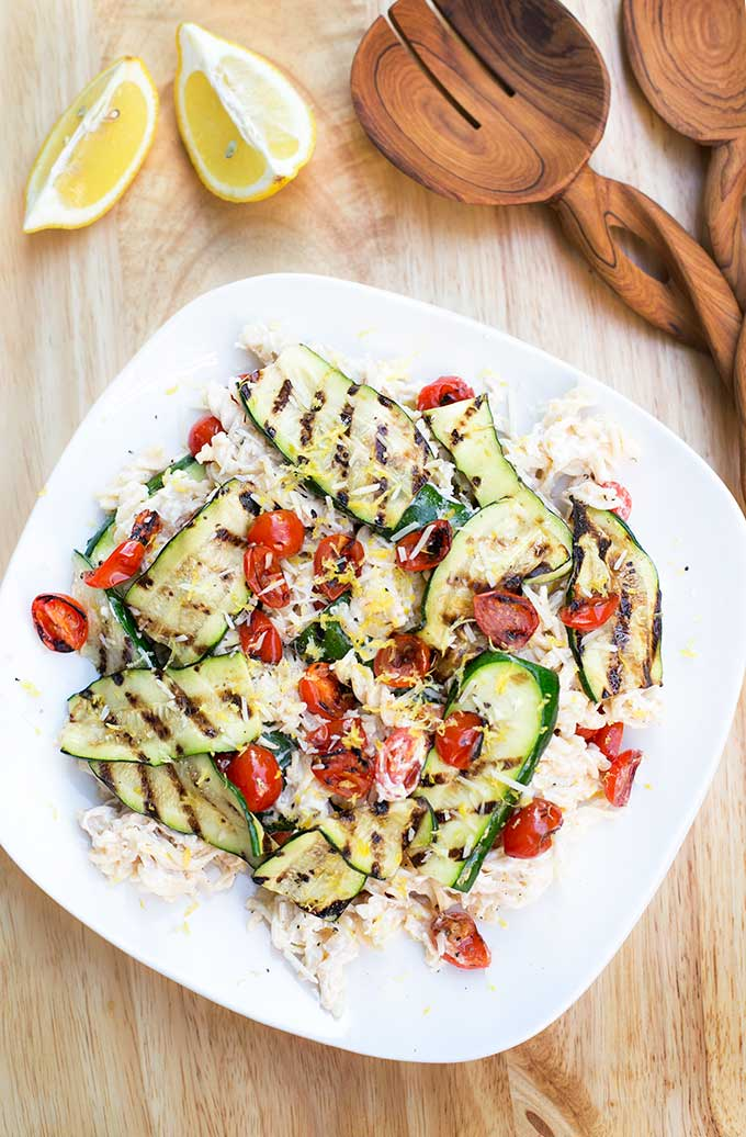 "Veggie-Packed Creamy Lemon Pasta is a healthier way to enjoy a ""rich and creamy"" pasta dish. Made with Greek yogurt, roasted zucchini and lemon zest."
