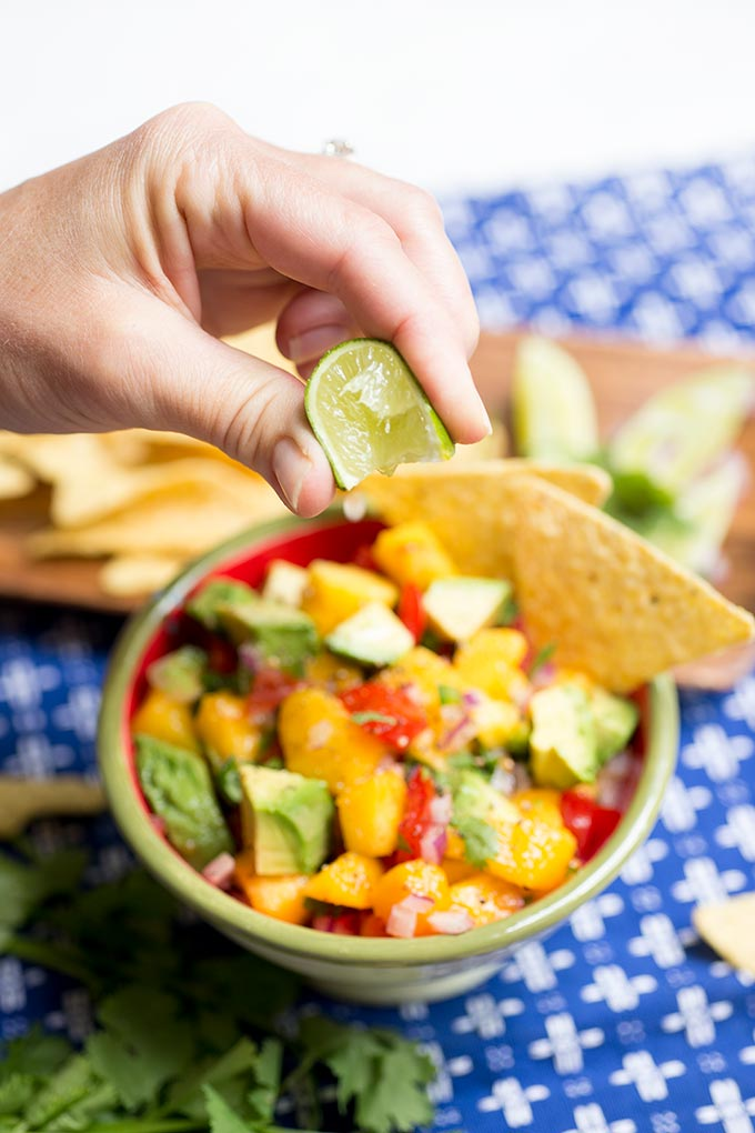 This Fresh Nectarine Salsa combines garden tomatoes, juicy nectarines, crunchy jicama and avocado for a fresh and simple snack.