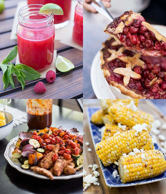 The ultimate Midsummer's Eve Dinner Menu: BBQ chicken, grilled corn, homemade salsa, fresh-squeezed limeade and cherry pie. Summer food at its finest!