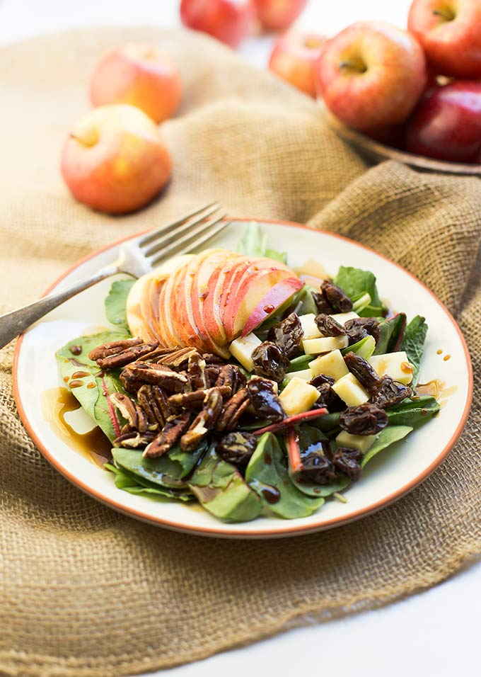 Spinach, Apple and Cheddar Salad with Balsamic-Maple Dressing - a delicious combination of sweet and savory flavors and ready in 15 minutes!