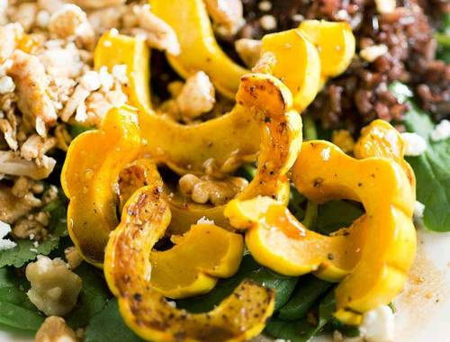 Creamy Delicata Squash and Wild Rice Salad - a tasty combo of freshly roasted squash, fresh pears, wild rice and chicken. Tossed with a creamy dressing.