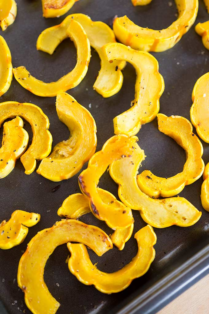 Creamy Delicata Squash and Wild Rice Salad - a tasty combo of roasted squash, fresh pears, wild rice and chicken. Tossed with a creamy dressing.