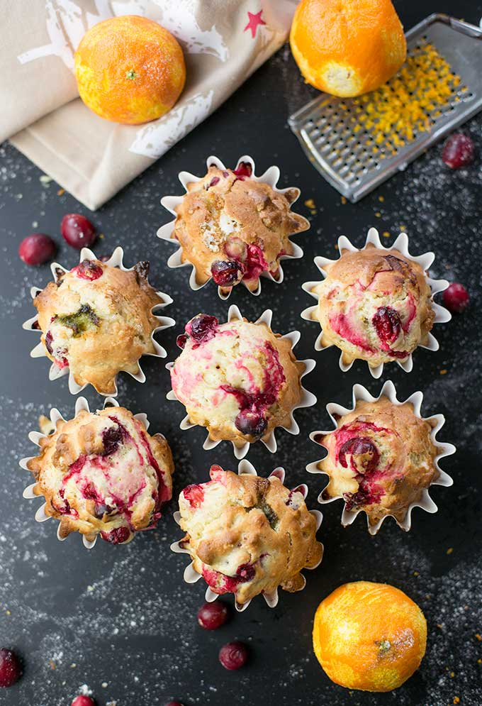 These Cranberry Orange Muffins are full of flavor and bursting with cranberries in each bite. Add walnuts for an extra crunch!