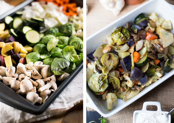Roasted Veggies with Creamy Goat Cheese Dip - lightly roasted veggies seasoned with salt and pepper with a creamy dip to spice things up.