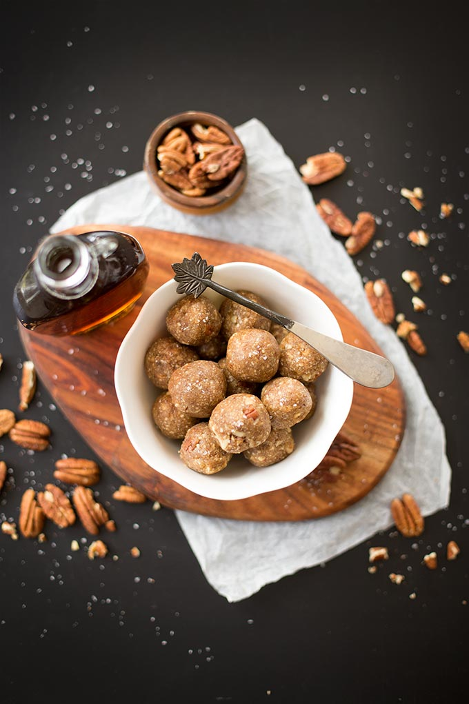Salted Maple Energy Bites - delightfully crunchy and bursting with the rich flavor of maple. A healthy snack made with only five ingredients!